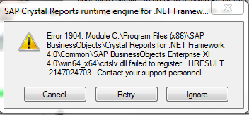 Force install of crystal reports 32-bit runtime stack overflow.